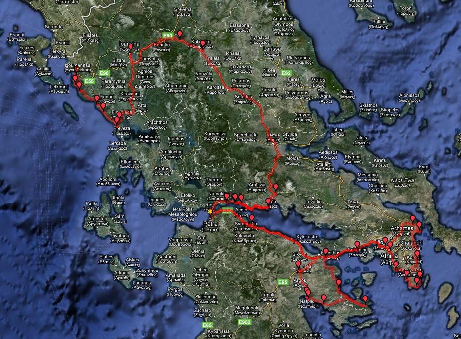 Route die we afgelegd hebben