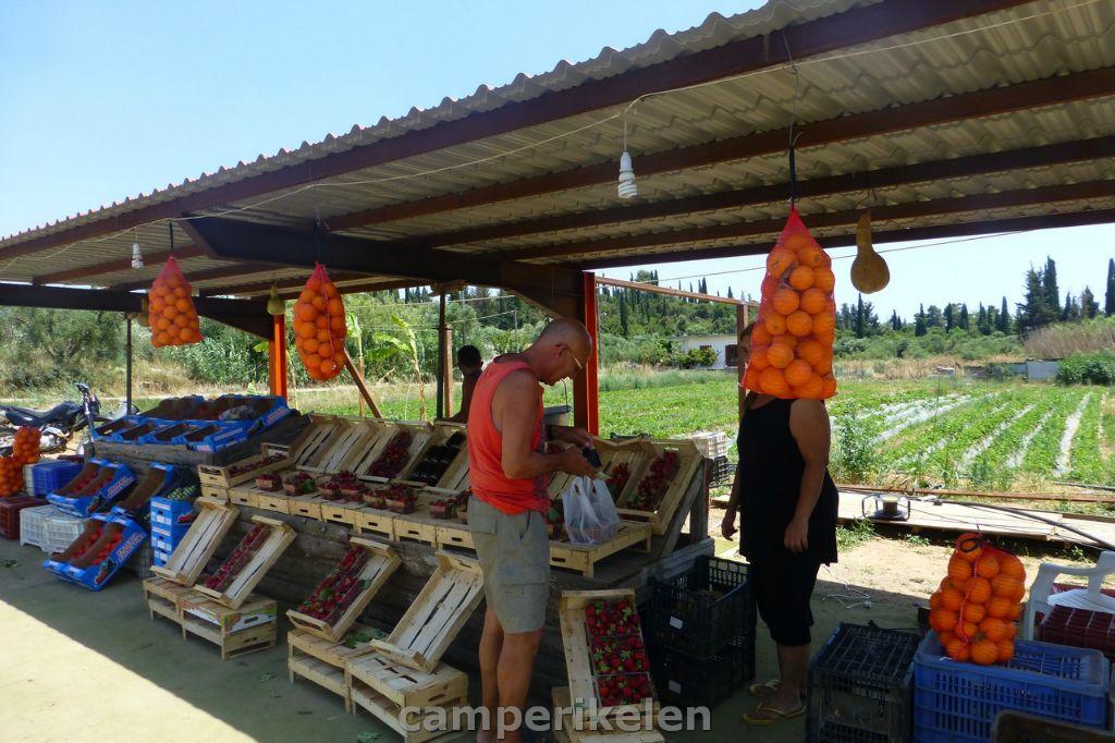 Fruit verkoop langs de kant van de weg