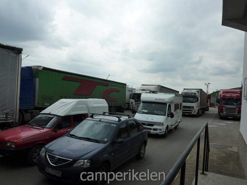 Wachten aan de grens van Bulgarije